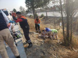 Motociclista, Atropellado, Periférico, Cuautlancingo, SUMA, 911, Rescate Urbano, Lesionado, Noche