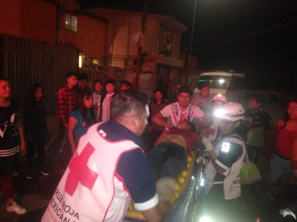 Galaxia Bosques de Manzanilla, tiroteo, golpes, lesionados, Pivada Canal de Tonanitla, Hospital, arma de fuego, venta de cerveza, rencilla, paramédicos, Cruz Roja