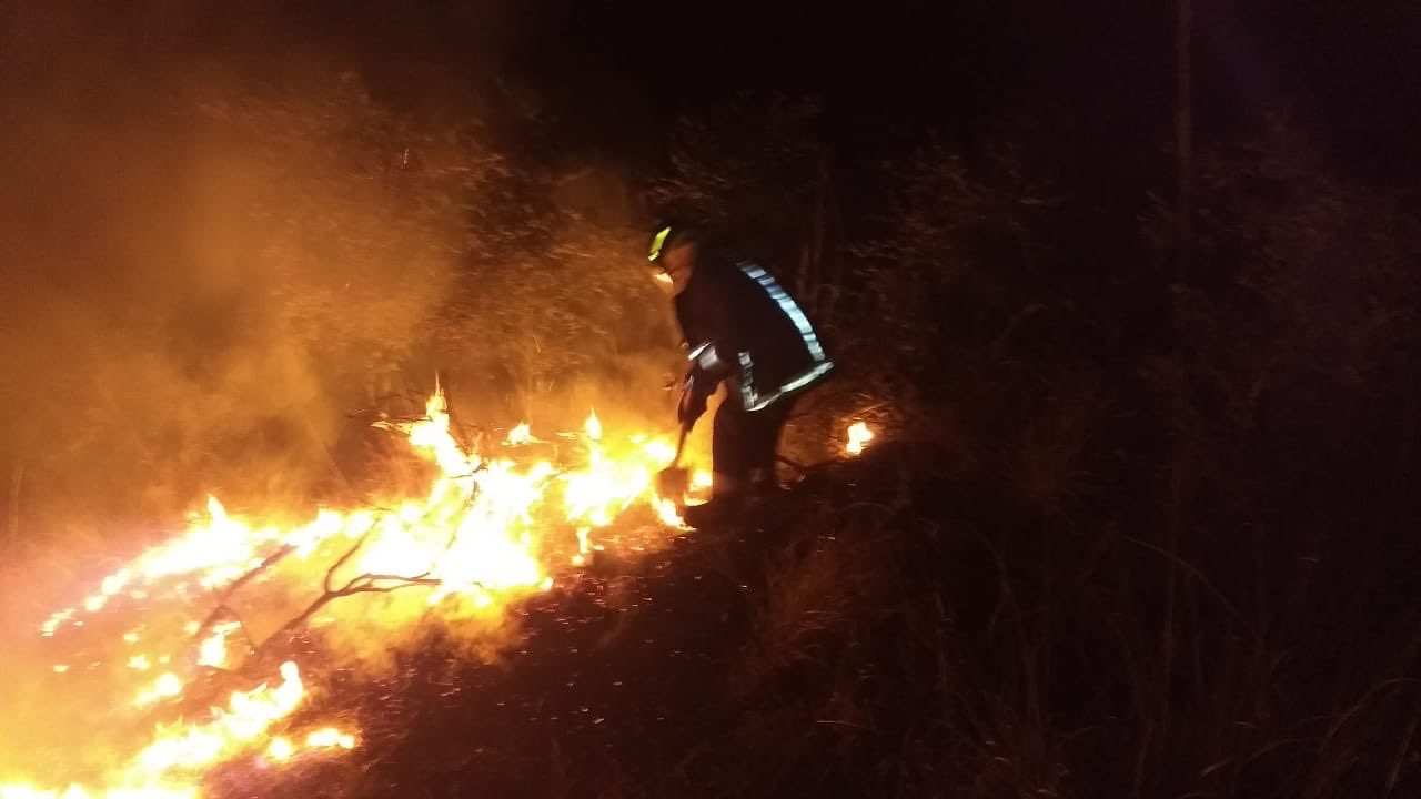 Incendio, pastizal, Periférico Ecológico, Fraccionamiento Bosques de Chapultepec, lunes, noche, Bomberos, Protección Civil Municipal