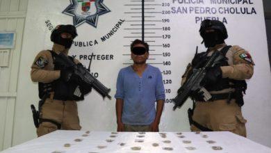 San Pedro Cholula, detenido, narcomenudeo, delitos contra la salud, acompañante, fuga, Policía Municipal, Ministerio Público, FGE