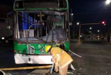 Autobús, transporte público, choque, cámara de video vigilancia, San Manuel, postes metálicos, SSPTM, Protección Civil Municipal, chofer