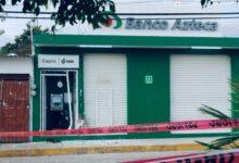 Banco Azteca, robo, cajero automático, sujetos armados, daños, patrullas, llantas, San Gabriel Chilac, Comandancia