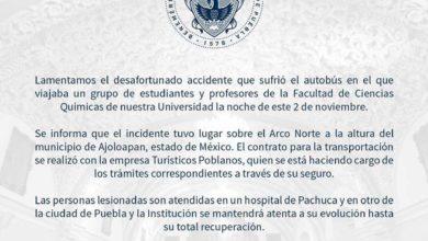 estudiantes, BUAP, camión, accidente, Arco Norte, Pachuca, Hidalgo, Cruz Roja, Policía Federal, BUAP, comunicado, Puebla, Noticias, Código Rojo, Nota Roja