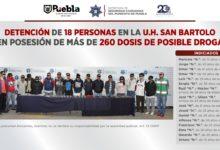 detenidos, Unidad Habitacional San Bartolo, drogas, 18, marihuana, cristal, cocaína, SSC, ROCA, Metanfetaminas, pastillas de medicamento controlado, FGE, Código Rojo, Nota Roja, Noticias, Puebla