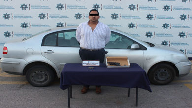 portación de arma de fuego, detenido, Policía Municipal, SSC Municipal, San Manuel, Ministerio Público
