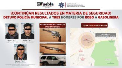 Secretaría de Seguridad del Municipio de Puebla, Infonavit, gasolinera, camioneta, persecución, cartuchos útiles, armas de fuego, Fiscalía General del Estado