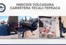 La Fiscalía General del Estado, Tepeaca, Tecali de Herrera, granadas, volcadura, Colima
