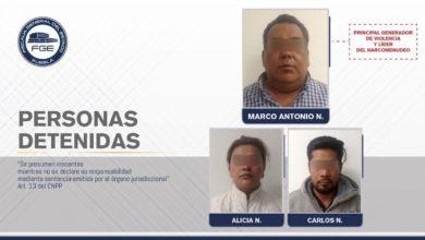 "FGE, El Negro, El Bombón, El Tío, narcomenudeo, ""El Grillo"", ""Julio Mix"", FISDAI, Agentes Investigadores, un arma larga AR15, cristal, droga"