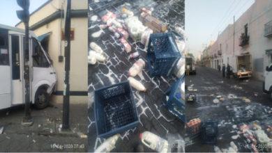 Ruta 38, lácteos, LaLa, centro de Puebla, banqueta SUMA, Tránsito Municipal, paramédicos, calle, productos, leche