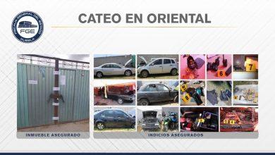 FGE, Oriental Puebla, cateo, equipo táctico, colonia La Coco, motocicleta, funda para gas pimienta, esmeril, botellas de alcohol, cajetillas de cigarros, un celular, identificaciones