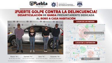 detenidos, robo a casa habitación, banda, mujeres, hombres, La Ciénega, Maravillas, Código Rojo, Nota Roja, Puebla, noticias