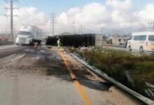 Rapiña, Guardia Nacional de Carreteras, camión de abarrotes, volcadura, Arco Norte, Cruz Roja,