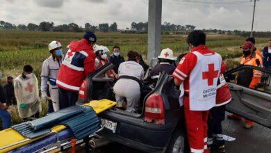 Huejotzingo, choque, exceso de velocidad, pavimento, percance vial, Cruz Roja, Protección Civil, Guardia Nacional de Carreteras