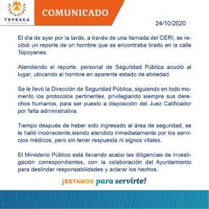 Policía Municipal, Tepeaca, cadáver, golpes, Juez Calificador, Ministerio Publico, separos, servicios médicos