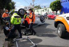 volcadura, lesionado, leve, 33 sur, calle, 27 poniente, automóvil, código rojo