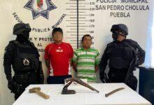 san pedro cholula, asaltantes, detenidos, ciudadanos, arma de fuego, código rojo