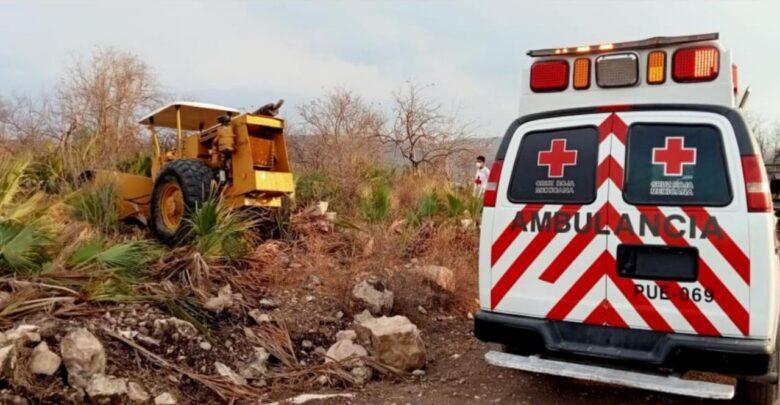 Albañil, muerto, aplastado, máquina aplanadora, Zoapiltepec, Cruz Roja, Paramédicos, peritos ministeriales