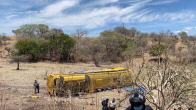 Autobús, volcadura, línea Oro, lesionados, muertos,alcohólico, discusión, bomberos, PC, ambulancias, GN, conductor