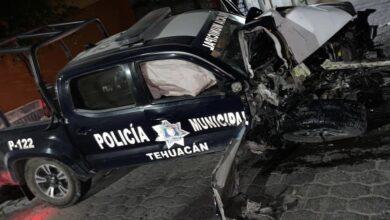 Policías, choque, patrulla, persecución, Técnicos en urgencias médicas, Cruz Roja Mexicana, Tehuacán