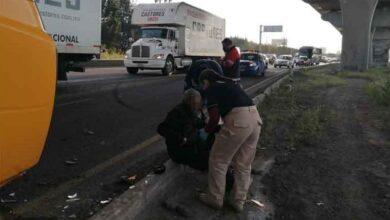 autopista puebla-orizaba, volcadura, camioneta, herido, paramédicos, protección civil, policía estatal, código rojo